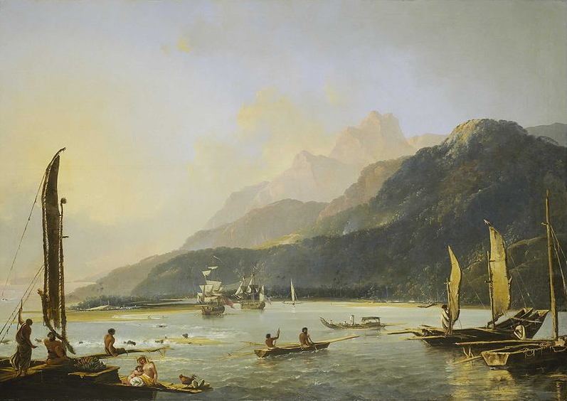 South Pacific Art: Resolution and Adventure with fishing craft in Matavai Bay, painted by William Hodges in 1776