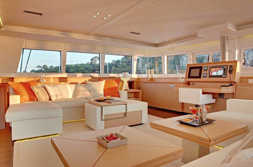 ENIGMA Luxury Crewed Charter Sailing Catamaran Salon View