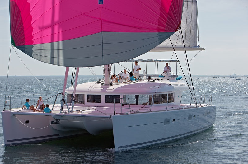 ENIGMA Luxury Crewed Charter Sailing Catamaran Under Sail
