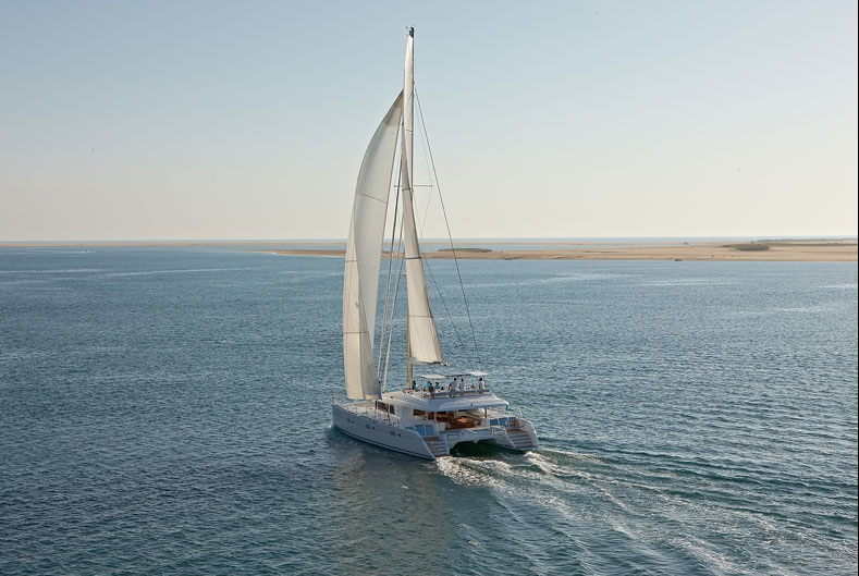 ENIGMA Luxury Caribbean Crewed Charter Sailing Catamaran Under Way