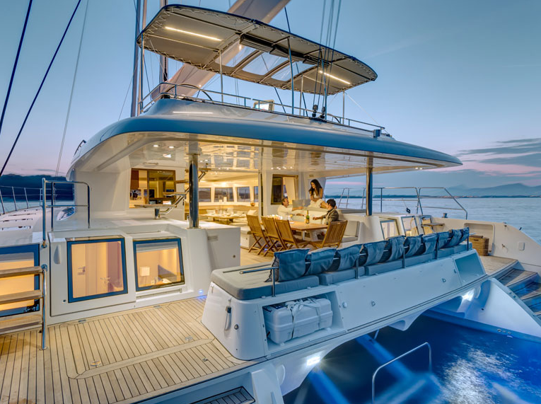 ENIGMA Luxury Crewed Sailing Catamaran Aft Deck Dining